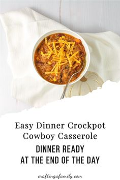 Crockpot Cowboy Casserole, super easy dinner you can start in the morning and have ready at the end of a busy day. Kid friendly loaded with veggies. Delicious cheesy easy family meal Fall Dinner Recipes, Dinner Recipes Easy Quick, Crockpot Cowboy Casserole, Easy Family Meals, Easy Meals, Top Recipes, Easy Recipes, Super Easy Dinner, Stuffed Sweet Peppers