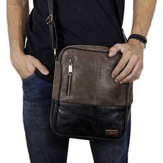 41b9e7364 Shoulder Bag - Bolsa Carteiro de Couro Estonado Alê - Marrom Café/Preto |  Por
