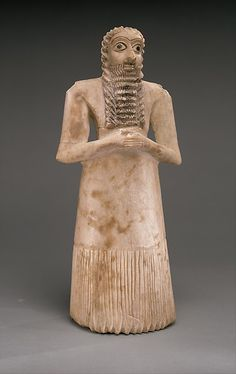 Standing male worshiper. From Mesopotamia, ca. 2900-2600 BC. Located in the Metropolitan Museum of Art, NY. To learn more about this piece, click on the picture.