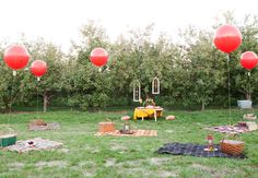 Picnic Style with balloon detail for the pre-wedding lunch