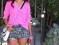 hot pink and shorts