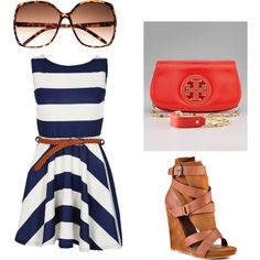 Nautical summer outfit, created by tiffany-cooper on Polyvore