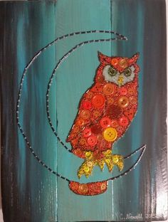 Button Art Owl Moon on Recycled Wood with Acrylic Paint Background #buttons #button #art