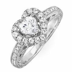 Heart Shaped Halo Diamond Engagement Ring Setting. $1,450.00, via Etsy.