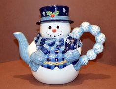 Ceramic Snowman Tea Pot Hand Painted