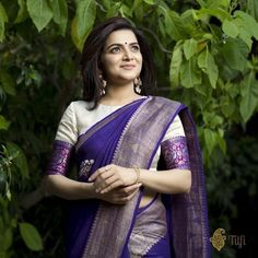 Designer blouse designs with beautiful ideas for neck and back. Browse latest blouse models, saree, patterns online on Happy Shappy Blue Silk Saree, Purple Saree, Tussar Silk Saree, Lehenga Blouse, Blouse Designs High Neck, Silk Saree Blouse Designs, Fancy Blouse Designs, Banaras Sarees, Stylish Blouse Design
