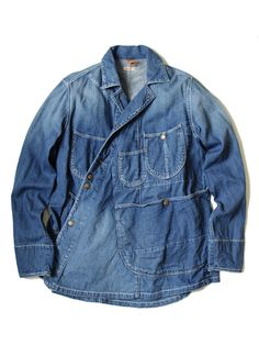 Dreamy, soft and cool denim jacket ~ Red shoes No knickers Vintage Jeans, Rare Clothing, Denim Jacket Men, Androgynous Fashion, Japan Fashion, Mandarin Collar, Jeans Style, Blue Denim, Work Wear