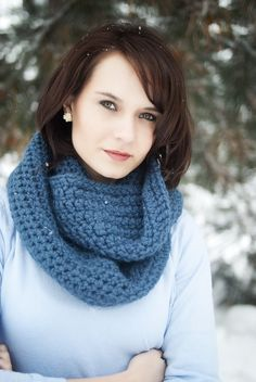 $28 Beautiful crocheted infinity scarf!!  Total must have! (Beautiful color too!!)  http://www.etsy.com/listing/65164288/denim-infinity-scarf