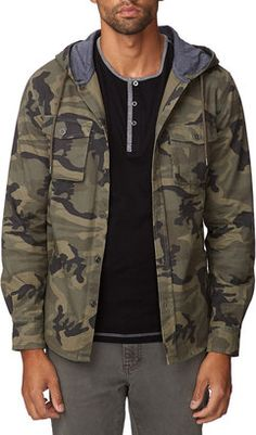 21 MEN Hooded Camo Jacket at ShopStyle