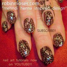 Mehndi/henna floral nail art
