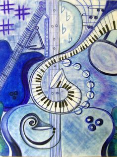 Musical Themed Digital Print of Abstract Art by Artist, Signed Print of Blue Pastel Artwork of Musical Instruments