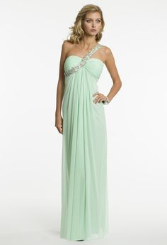 Mesh Empire Waist One Shoulder Prom Dress by Camille La Vie