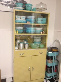 Our New To Us Vintage Yellow Metal Hutch Cabinet With Sliding Gl Doors