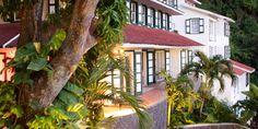Queen's Gardens Resort - Saba, Netherlands Antilles: classic Dutch style: white walls, red roofs and green shutters.