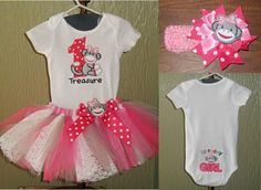First Birthday Sock Monkey Embroidered, Monogram Bodysuit Outfit with Tutu and Headband on Etsy, $38.00
