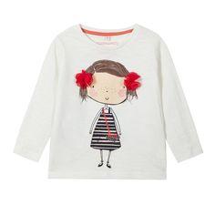 Girl's cream girl print t-shirt - Kids - Debenhams.com