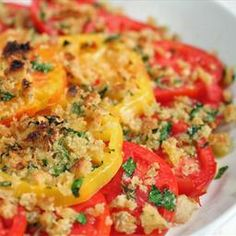 Gratineed Tomatoes with Asiago and Fresh Herbs on BigOven: Light side dish for summer dinners.  Got a lot of maters left from your garden...?