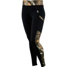 """Comfort meet performance! These poly/spandex leggings feature Big Game® Camo and a reflective Signature Buck decoration. Two handy side pockets and one invisible zippered pocket for iPods, keys, or credit cards. Moisture management finish to help keep you dry and comfortable all day. 29-1/2"""" to 30-3/4"""" inseam."""