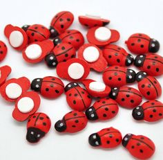 50 Wooden Ladybugs with Adhesive Backing - Perfect for Scrapbooking and Crafts - Z54