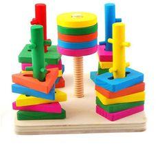 Holzsammlung Formes Et De Couleurs Planche d'empilage et de tri - Premier Puzzle En Bois - Âge minimum: 3 ans: Amazon.fr: Jeux et Jouets