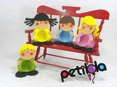 Porta Bombom Crianças - cortes para montar www.petilola.com.br
