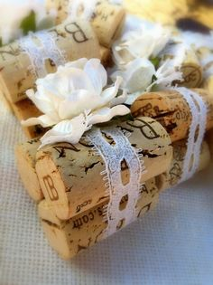 Vintage Ivory Lace Wedding Place Card Holders, Set of Ten, Recycled Wine Corks for Rustic, Shabby Chic, Vineyard Wedding, Winery Wedding via Etsy