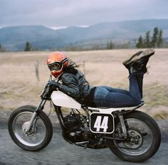 """Jenny on her flat-track Yamaha 250. From the photo series """"Jenny + Heidi"""" by Lanakila MacNaughton"""
