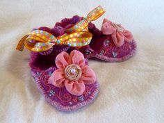 Hand Made Pink Felted Baby Booties Hand Embroidered by fridakello, $18.00