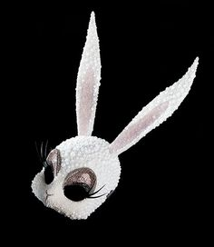 White Crystal Bunny / Nasty Glam Bunny mask made of Swarovski crystals by Erik Halley Margiela Mask, Halloween Outfits, Halloween Costumes, Diy Masque, Halloween Masquerade, Masquerade Party, Bunny Mask, Rave Costumes, Paper Mask