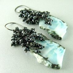 Larimar and Black Spinel Cluster Earrings by SurfAndSand on Etsy, $189.00