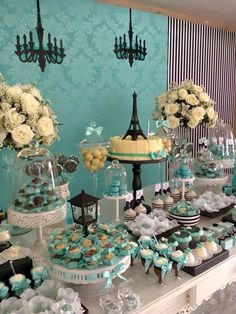 que poner en una mesa de dulces de 15 años Paris Birthday, 16th Birthday, Birthday Parties, Tiffany Theme, Tiffany Party, Paris Party, Paris Theme, Candy Table, Candy Buffet