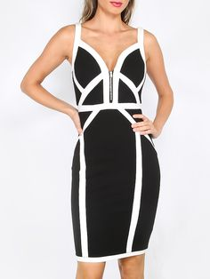 Black and White Spaghetti Strap Sheath Bandage Dress -Black and White Sexy Nylon Sweetheart Sleeveless Sheath Short Fabric is very stretchy Summer Pencil YES - women party and cocktail dress, women party collection - http://airctb.com/product/black-and-white-spaghetti-strap-sheath-bandage-dress/