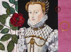 """Artist Honora Jacob's painting """"The White Queen"""", oil on canvas, 36x48 inches at Wally Workman Gallery in Austin, Texas"""
