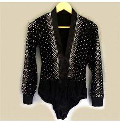 aff28eb56 Black diamond handmade luxury v neck long sleeves boys men's male  competition ballroom latin dance shirts