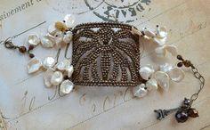 Victorian French Cut Steel Buckle Spider Motif Keishi Flower Pedal Pearl Bracelet