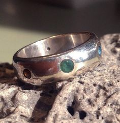 Size 8 1/2 Ready to ship - Multi-gemstone Band in Sterling Silver - Confetti Sprinkles