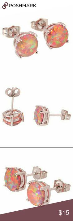 925 Sterling Silver Orange Fire Opal Stud Earrings 925 Sterling Silver Round Cut Orange Fire Opal Stud Earrings Jewelry Earrings
