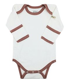 Little World Peas Organic Cotton Long Sleeve Bodysuit 1218 months White and Romantic Pink