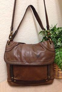 166a5d27d7 Fossil Brown Leather Flap Convertible Crossbody Bag Handbag Shoulder Canvas  Trim