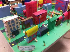 Students created a community by covering cereal boxes with construction paper to make buildings. They also made community helpers, roads, parks, parking lots, road signs, etc. A wonderful consolidation for our Local Community Social Studies unit. Created by K.Groenewegen, OCT
