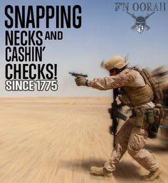 Snapping necks and cashing checks  Marine Corps humor lol
