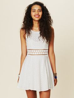 Free People Fitted With Daisies Dress, $128.00 #whiteparty #bohochic