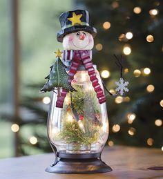 Snowman Glass Lantern......I love snowmen & snow women & snow children