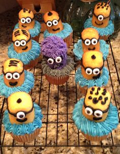 Minion cupcakes - use 1/2 a Twinkie on top of a cupcake, white smarties for the eyes.