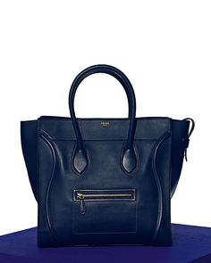 Celine Luggage Mini in Smooth Calfskin Navy...someone for the love of God buy me this! I need it! <3
