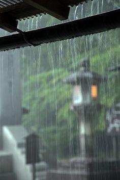 Rain falling from house eaves in Koyasan ~ Al Case