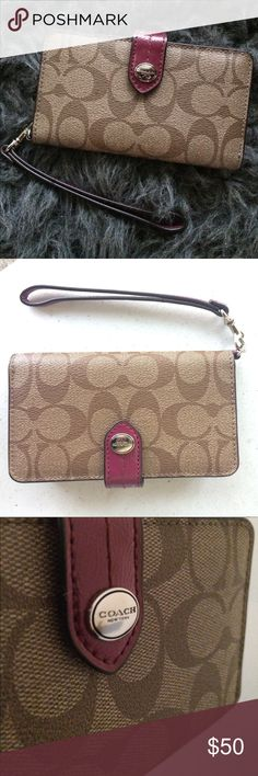 Coach PEY SIG Phone Wallet Wristlet khaki and merlot coach wallet. Authentic. Brand new. Never been used! Perfect condition Coach Bags Clutches & Wristlets