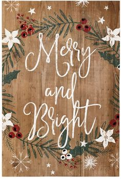 'Merry & Bright' Rustic Holly Wall Sign