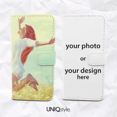 Custom photo PU leather phone case for iPhone 5/5s iPhone 5c Moto X - custom made with your design - wallet flip case with standing funtion