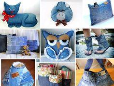 Ideias de Customização de jeans velho - Artesanato na Rede